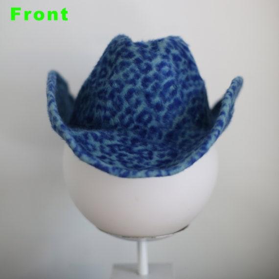 Vintage Blue Cheetah Cowboy Hat