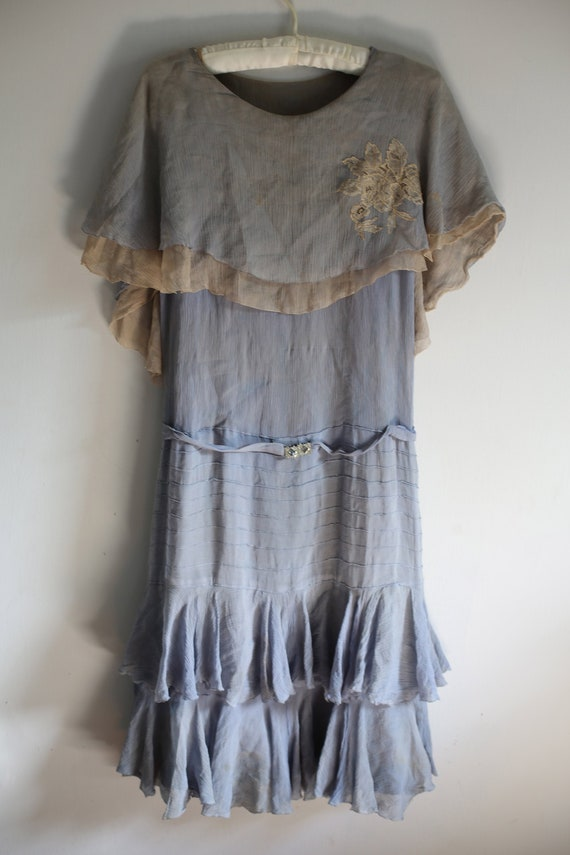 Antique 1920s Flapper Dress with Fortuny Style Ple
