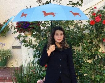 Watercolor Mini Dachshund Dogs Semi-Automatic Foldable Umbrella