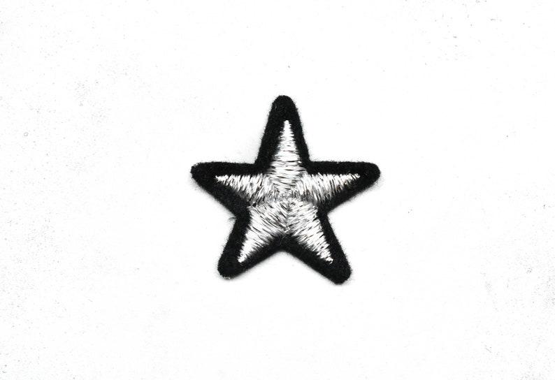 Metallic Star Applique 1.25 Metallic Silver and Black Iron-on Star Patch Applique