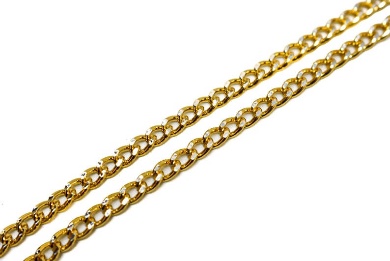Gold Diamond Cut Aluminum Chain 110 2.5 mm