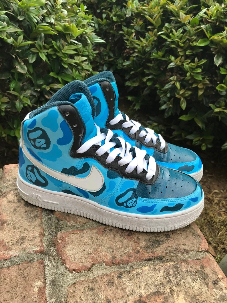 hot sale online ca7f8 60e61 Custom Nike Air Force 1 high top Bape Camo Sneakers