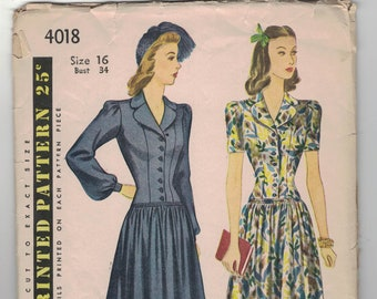 1940s Simplicity 4018 Fitted Bodice Dress Pattern sz 11 bust 29
