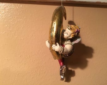 Katherine's Collection Chubby Plump Mermaids Sitting on a Moon Ornament