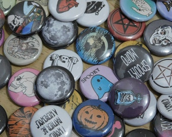 """Spooky Halloween Button Blind Bags 1"""" pins (mixed mystery box grab random goth gothic horror witch occult monsters zombie creepy skull)"""
