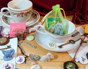 Cottage Core Mystery Tea Cup Gift Set (saucer cottagecore gift box jewelry buttons vintage antique figurines animals goblincore fairycore)