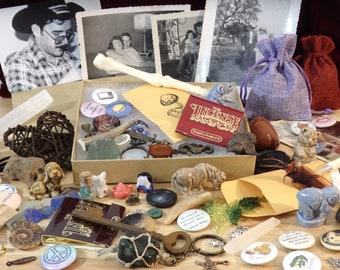 Goblin Box or Bag (goblincore oddity oddities curiosity mystery grab vintage bones stone shell magpie corvid crow corvidcore vulture culture