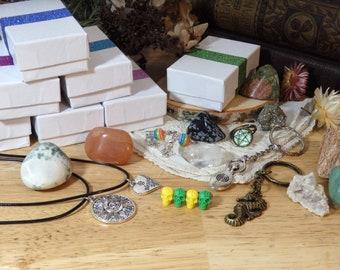 Pagan Mystery Crystal & Jewelry Box! (handmade wiccan key necklace pin tumbled stone gemstone grab bag goth nature gothic boho pentagram)