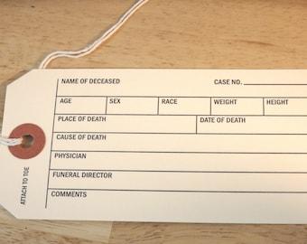 Real Mortuary Toe Tag 1 pc (gift goth death positive creepy morbid halloween oddity oddities coffin dying corpse craft paper ephemera)