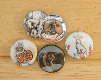 """1"""" Button Set Medieval Cats, 4 pc 5 pc (antique art history europe goblincore gothic cat lover illustration gift stocking stuffer keychain)"""