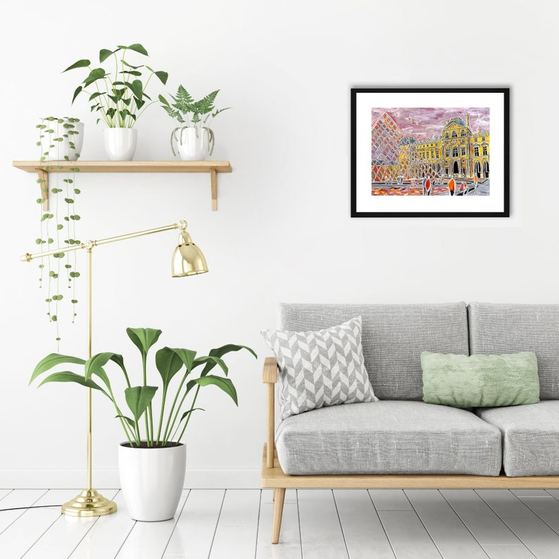 Paris Romanticism contemporary drawing Louvre colorful city limited edition signed print of my acrylic painting Gicl\u00e9e print