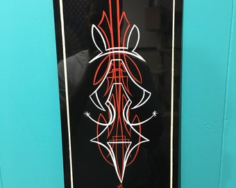 Pinstriped art panel. Red, white, and ivory.