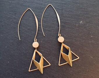 Geometric minimalist triangle and diamond earrings