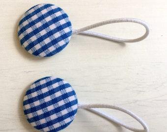 Royal Blue Gingham Button Bobbles