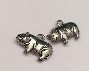 baby charm jewelry supplies 2 pc pewter piggy bank charm