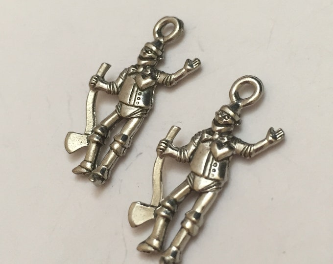fairytale charm jewelry supplies 2 pc pewter man of Tin charm