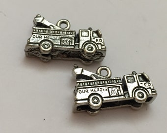 2 pc pewter fire truck charm, engine charm, jewelry supplies