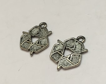 2 pc pewter recycling symbol charm, recycle charm, jewelry supplies
