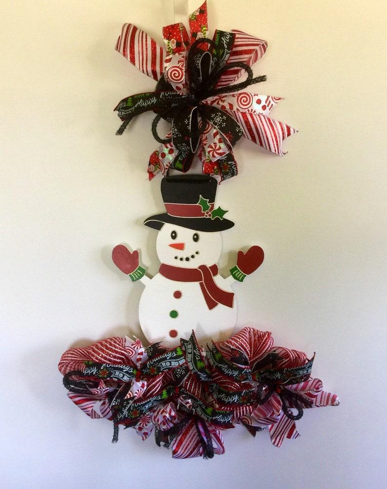 Christmas Snowman Mesh Rail Door Hanger Rail Wreaths Snowman Etsy