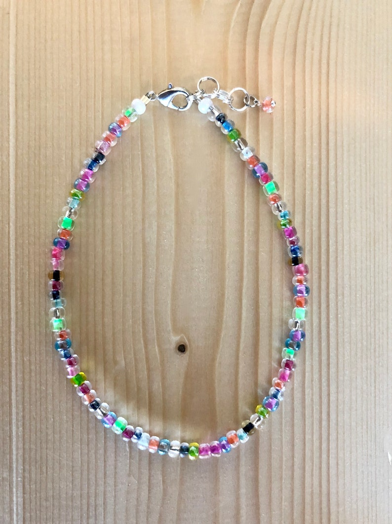 Transparent Multicolor seed bead anklet~ simple and fun Sterling Silver Anklet~ gifts for her