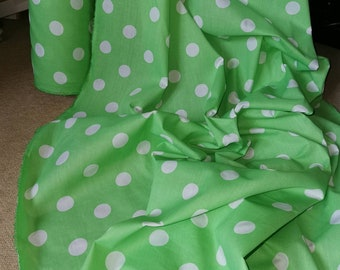Hot Pink and Neon Green Polka Dot Child Apron with Coordinating Fabric Rose Pin ready to ship