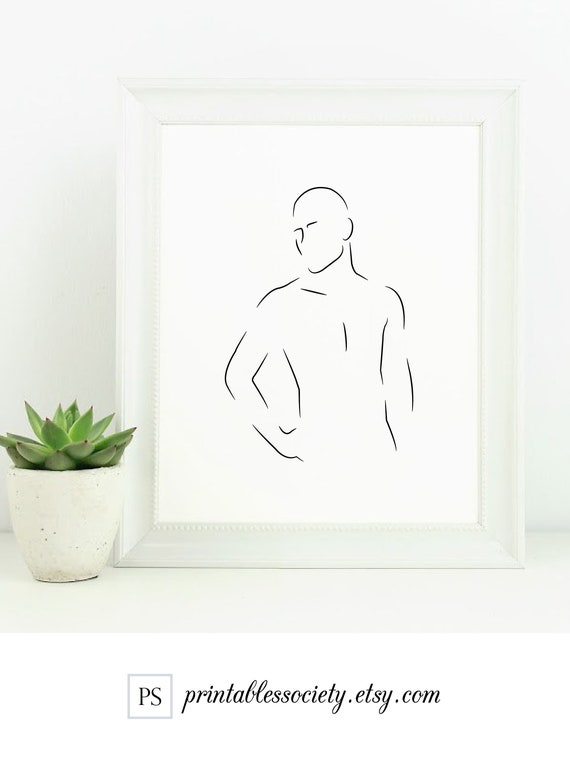 Man Line Art Male Body Print Human Printable Modest Nude