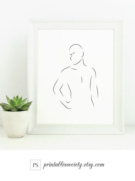 Mann Linie Kunst/männliche Körper Druck/menschlichen Körper | Etsy
