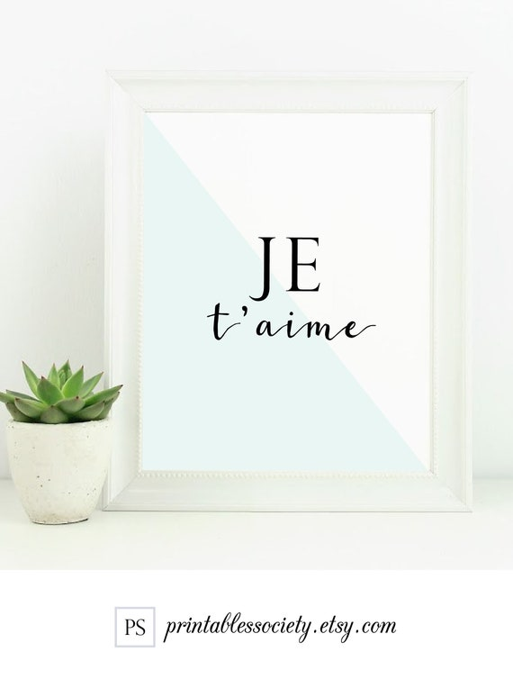 Je Taime French Quote Decori Love You Printableromantic Typographychic Bedroom Wall Artmodern Master Bedroom Decortrendy Digital Print