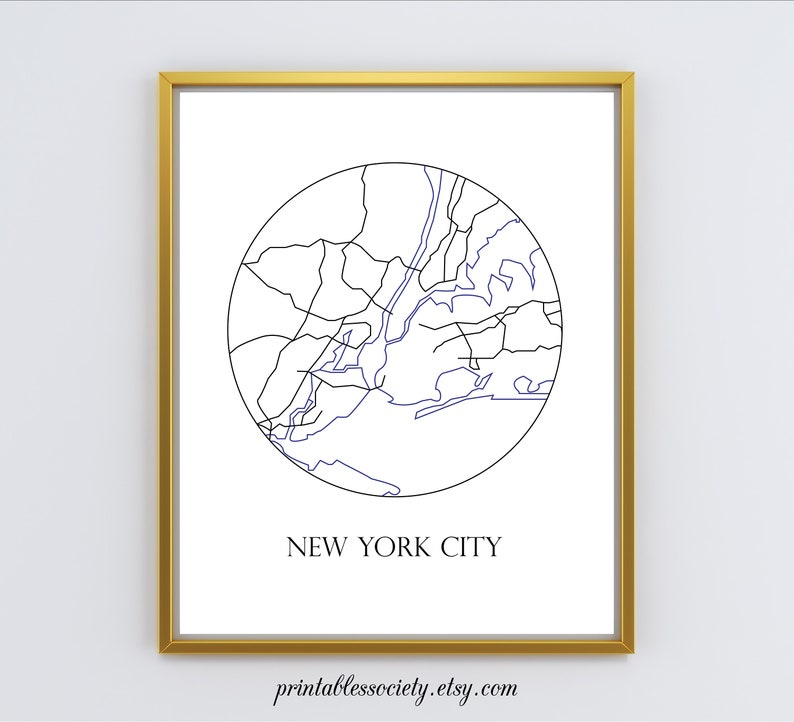 Nyc Map New York City Print Nyc Art New York Wall Etsy