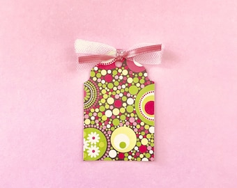 Green/Pink/White Glittered Circle and Flower Tags