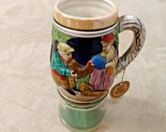 Vintage Pedestal Enesco Beer Stein with Patented DICE Clear Glass Base