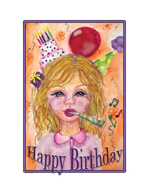 Happy Birthday Whimsical Birthday Card Unique Birthday Card Etsy