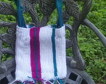 Sparkly White Red Green Colorful Striped Knitted Over-The-Shoulder Zipper Purse Bag with Fringe