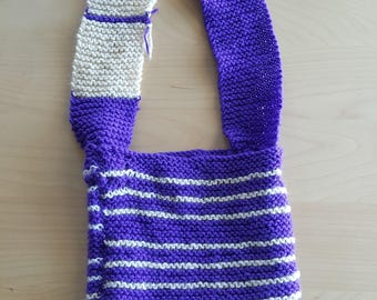 Purple & White Striped Over-The-Shoulder Knitted Bag Purse