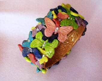 Bracelet Butterfly Cuff Bracelet polymer clay bangle clay jewelry fashion jewelry polymer clay bracelet Gift for her jewelry gift Rainbow