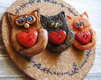 Brooch cat heart Polymer clay women's jewelry  gift idea Jewelery Funny brooch for girls pin brooch Cute kitten Creative brooch