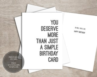 PRINTABLE Funny Birthday Card For Him INSTANT DOWNLOAD Simple