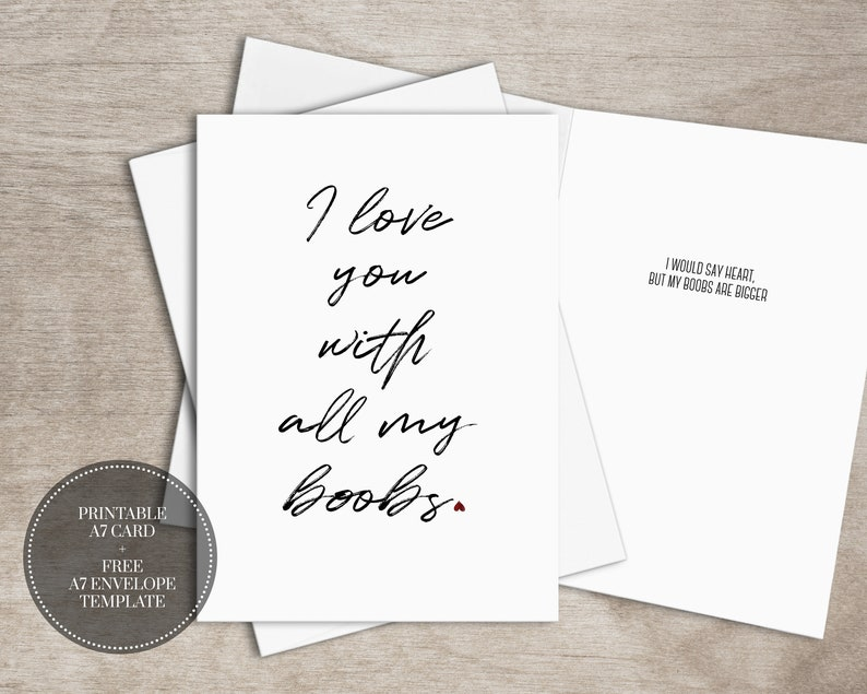 picture relating to Free Printable Anniversary Cards for My Husband referred to as PRINTABLE Naughty Anniversary Card for Him Quick Down load Alluring Card for Spouse // Boobs