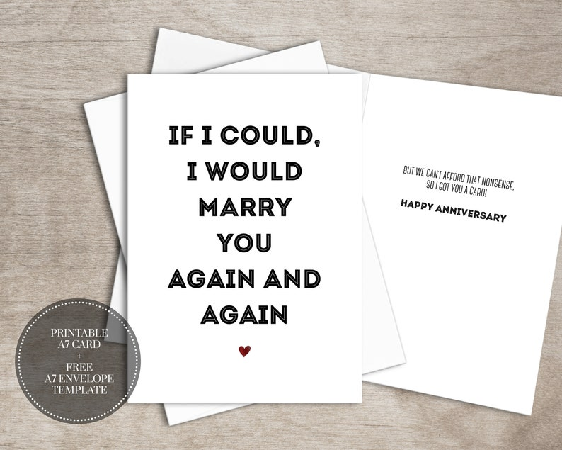 graphic relating to Free Printable Anniversary Cards for My Wife called PRINTABLE Humorous Anniversary Card for Partner Immediate Down load Romantic relationship Anniversary Card // Marry Yet again