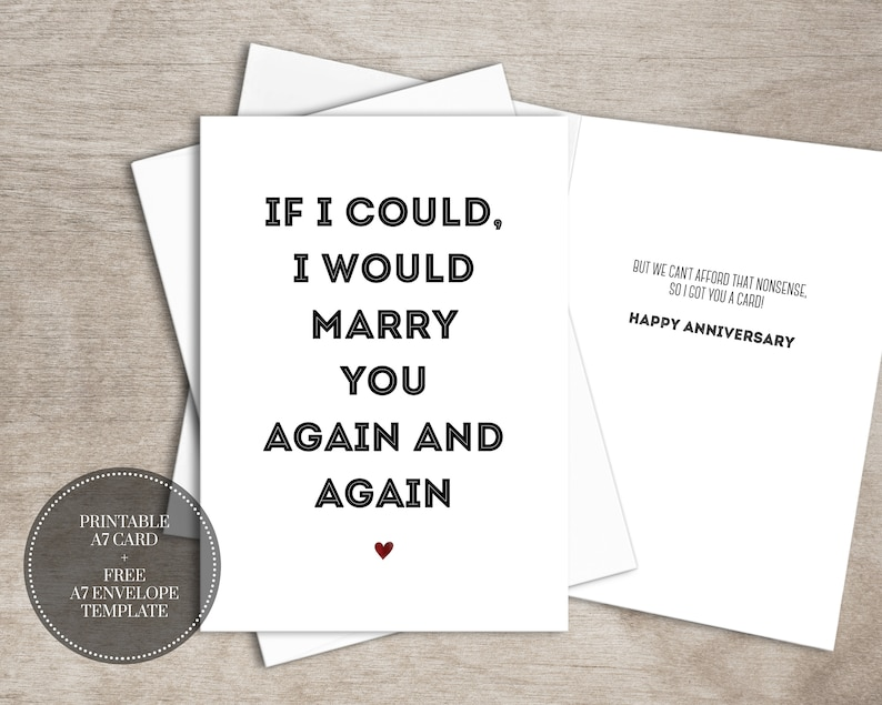 photo relating to Free Printable Anniversary Cards for My Husband identify PRINTABLE Humorous Anniversary Card for Spouse Quick Obtain Connection Anniversary Card // Marry Back
