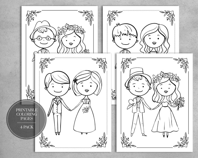 picture about Printable Wedding Coloring Pages named PRINTABLE Marriage Coloring Webpages for Young children Desk Wedding ceremony Favors Quick Down load // 4-Pack