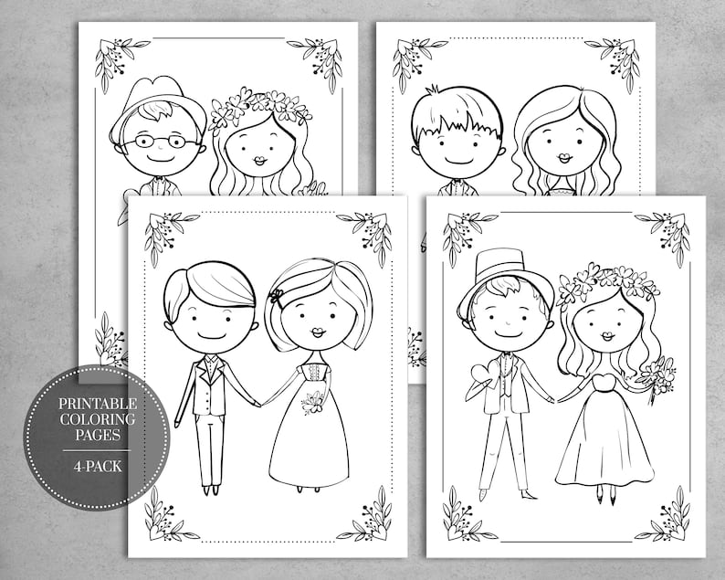 PRINTABLE Wedding Coloring Pages for Kids Table Wedding Favors INSTANT  DOWNLOAD // 4-Pack
