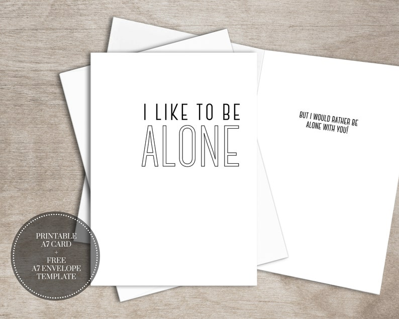 PRINTABLE Funny Love Card for Introvert INSTANT DOWNLOAD  image 0