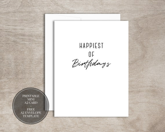 PRINTABLE Birthday Card INSTANT DOWNLOAD Digital Mini Greeting