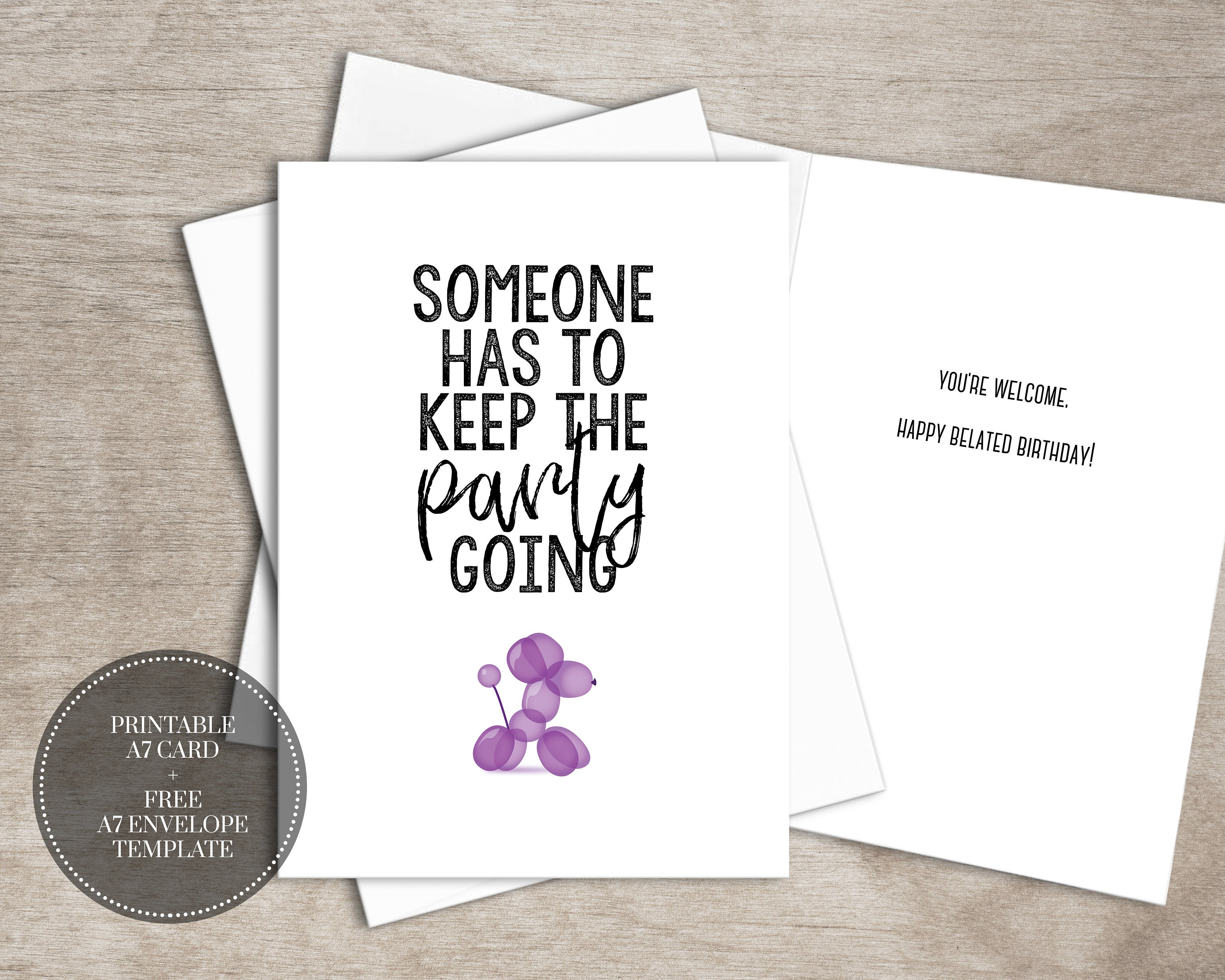 Printable Funny Birthday Card Instant Download Digital Belated Etsy