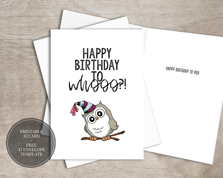 Printable Birthday Card Instant Download Digital Watercolor Etsy