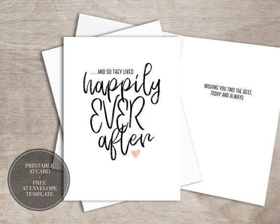 photograph about Free Printable Wedding Cards referred to as PRINTABLE Wedding day Card for Couple of Bridal Shower Fast Down load Card for Bride toward Be // Fortunately At any time Immediately after