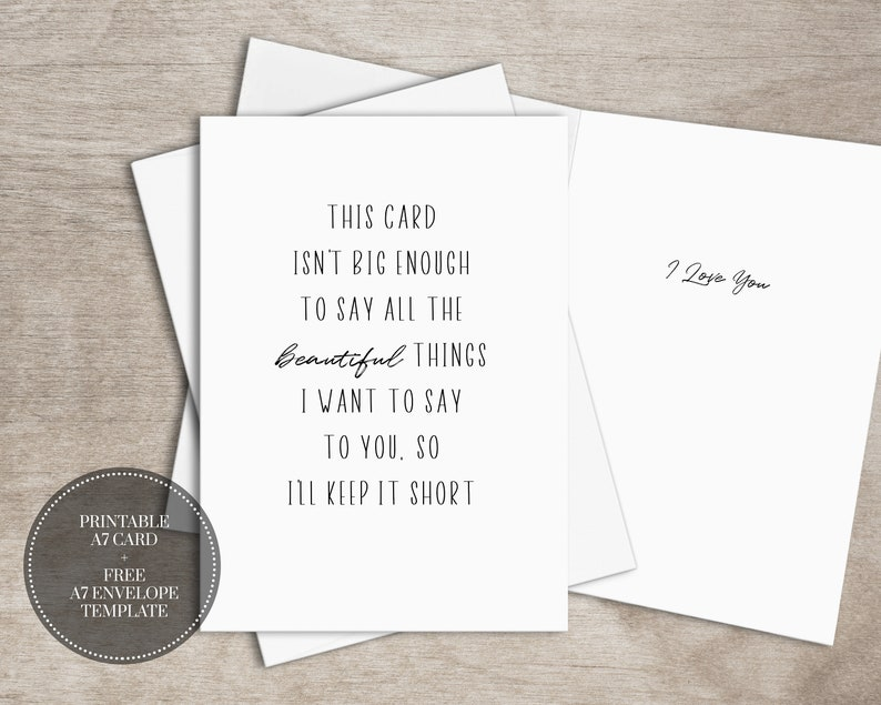 image regarding Free Printable Anniversary Cards for Him known as PRINTABLE Anniversary Card for Spouse Quick Obtain Appreciate Card for Him // Preserve It Shorter