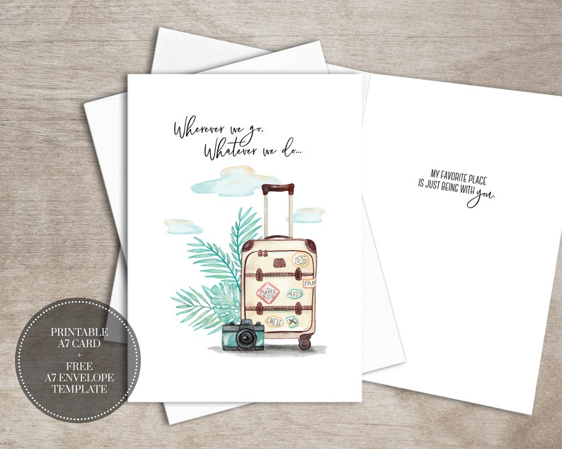 photo about Free Printable Love Cards known as PRINTABLE Get pleasure from Greeting Card Prompt Down load Electronic Watercolor Drive Anniversary Card for Him Boyfriend Partner Present // Any where We Shift