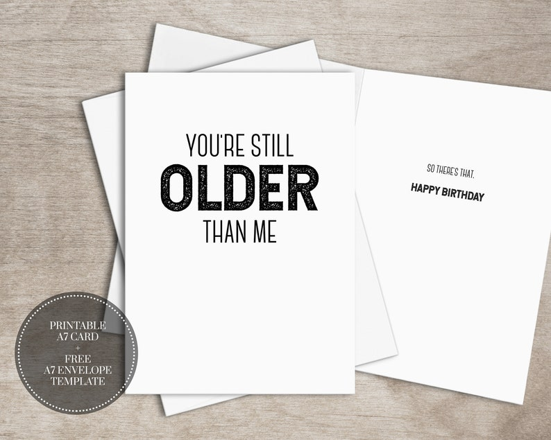 photo relating to Free Printable Funny Birthday Cards for Him known as PRINTABLE Amusing Birthday Card for Him Prompt Down load // Nevertheless More mature